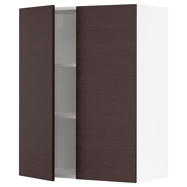 METOD Wall cabinet with shelves/2 doors, white Askersund/dark brown ash effect, 80x100 cm