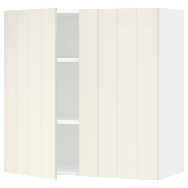 METOD Wall cabinet with shelves/2 doors, white/Hittarp off-white, 80x80 cm