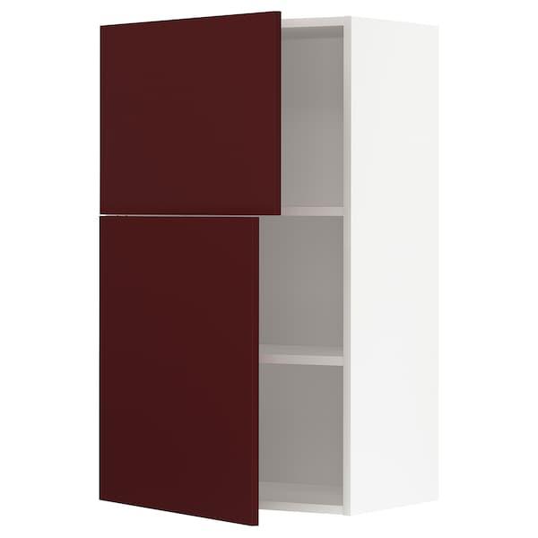 METOD Wall cabinet with shelves/2 doors, white Kallarp/high-gloss dark red-brown, 60x100 cm
