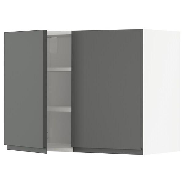METOD خزانة حائط مع أرفف/بابين, أبيض/Voxtorp رمادي غامق, 80x60 سم