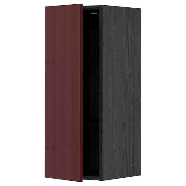 METOD Wall cabinet with shelves, black Kallarp/high-gloss dark red-brown, 30x80 cm