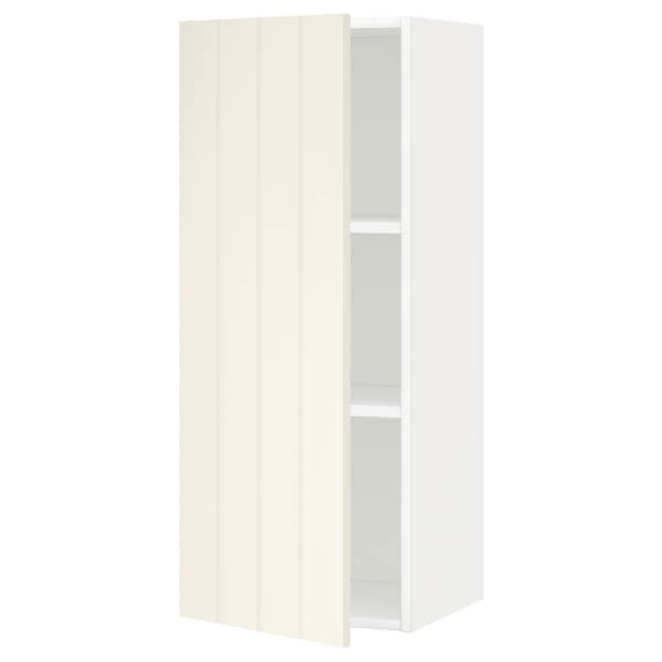 METOD Wall cabinet with shelves, white/Hittarp off-white, 40x100 cm