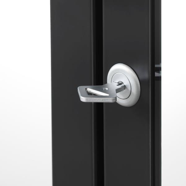 MILSBO خزانة بباب زجاج, فحمي, 73x175 سم