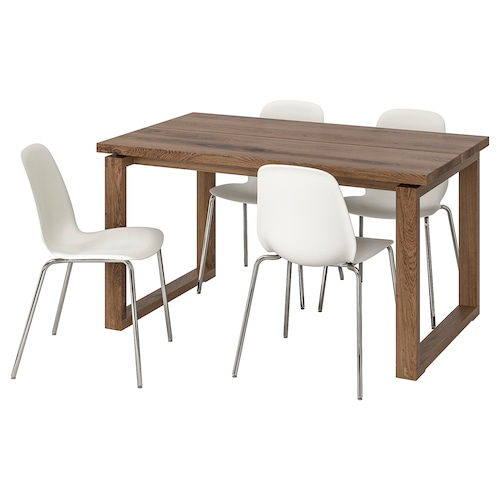 MÖRBYLÅNGA / LEIFARNE table and 4 chairs brown/white 140 cm 85 cm 74 cm