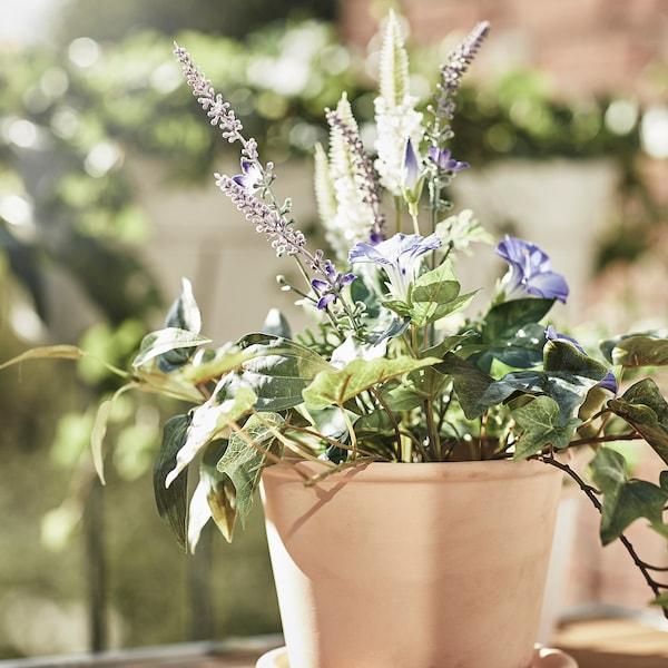 MUSKOTBLOMMA وعاء نباتات مع صحن, داخلي/خارجي بلون الطين, 12 سم