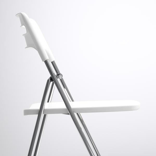 NISSE Folding chair, high-gloss white/chrome-plated