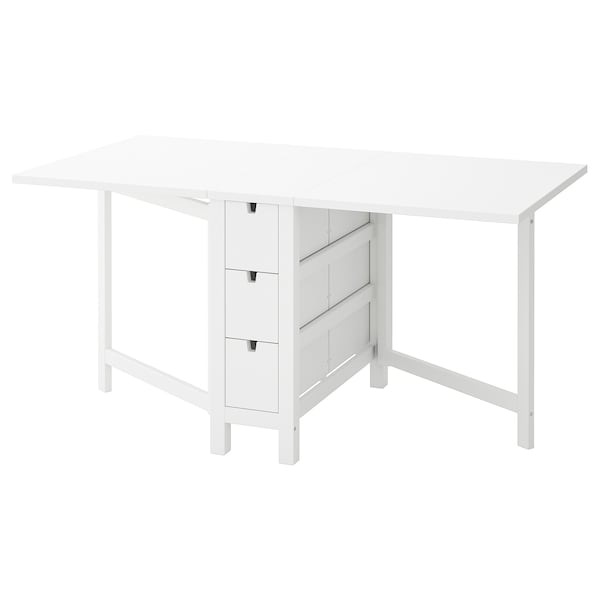NORDEN Gateleg table, white, 26/89/152x80 cm