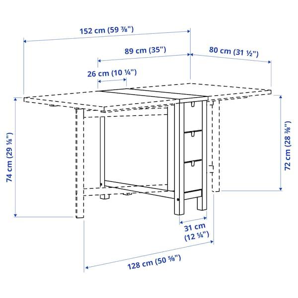 NORDEN / RÅSKOG Table and 2 stools, birch/black, 89/152 cm