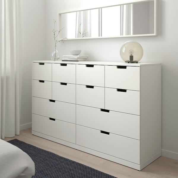 NORDLI Chest of 12 drawers, white, 160x99 cm