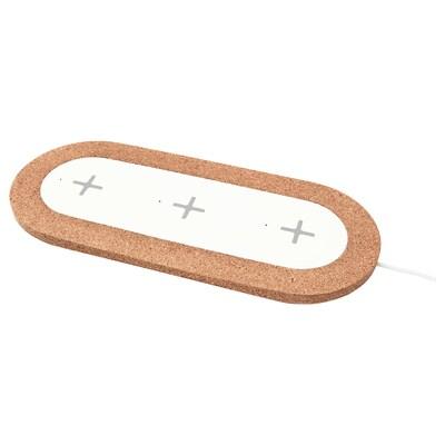 NORDMÄRKE Triple pad for wireless charging, white/cork