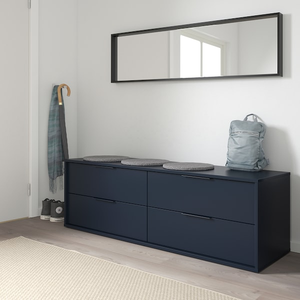 NORDMELA وحدة تخزين بـ 4 أدراج, أسود-أزرق, 159x50 سم