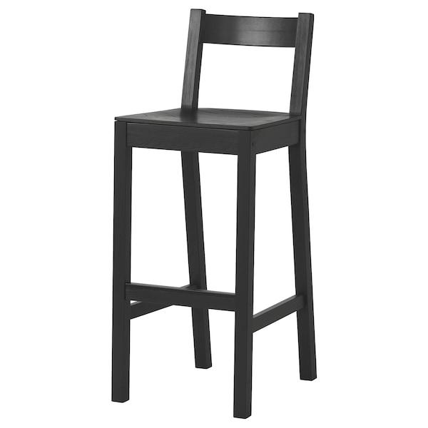 NORDVIKEN مقعد مرتفع مع مسند ظهر, أسود, 75 سم