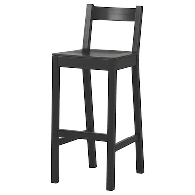 NORDVIKEN Bar stool with backrest, black, 75 cm