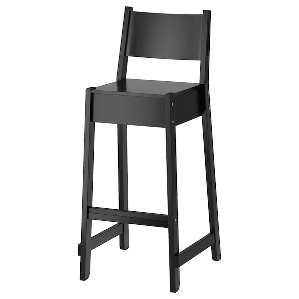 Groovy Bar Stool With Backrest Norraker Black Gmtry Best Dining Table And Chair Ideas Images Gmtryco