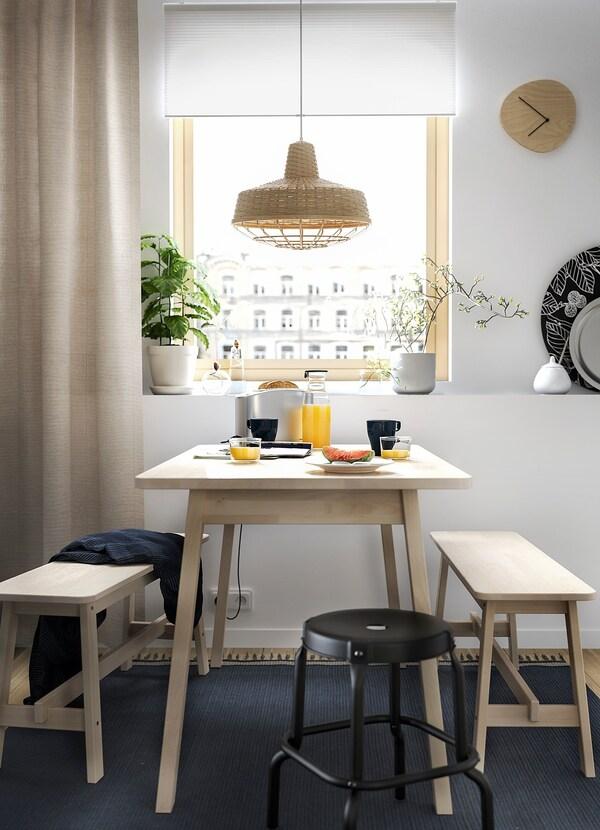 NORRÅKER طاولة, بتولا, 125x74 سم