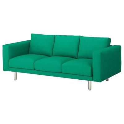 NORSBORG كنبة 3 مقاعد, Edum أخضر مشرق/معدني