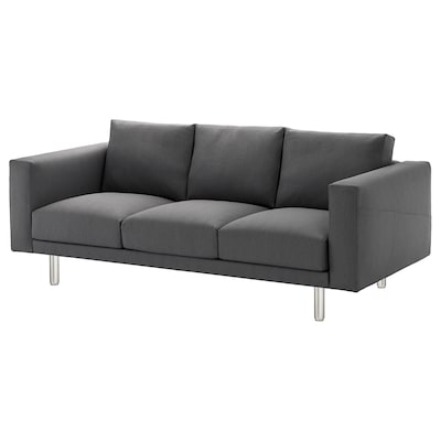 NORSBORG 3-seat sofa, Finnsta dark grey/metal