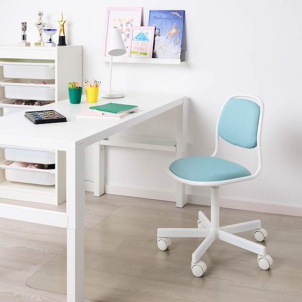 Awesome Childrens Desk Chair Orfjall White Vissle Blue Green Inzonedesignstudio Interior Chair Design Inzonedesignstudiocom
