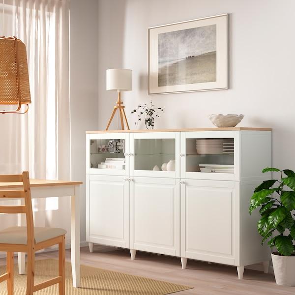 OSTVIK Glass door, white/clear glass, 60x38 cm