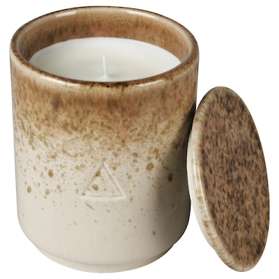 OSYNLIG Scented candle in pot with lid, Pomegranate & Amber/white brown, 10 cm