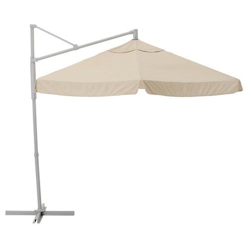 OXNÖ / VÅRHOLMEN parasol, hanging grey/beige 250 g/m² 265 cm 300 cm