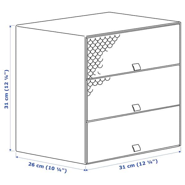 PALLRA وحدة تخزين صغيرة مع 3 ادراج, أزرق فاتح, 31x26x31 سم