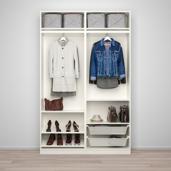 PAX / AULI تشكيلة دولاب ملابس., أبيض/زجاج مرايا, 150x44x236 سم