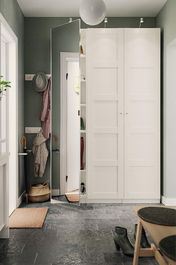 PAX / BERGSBO/VIKEDAL تشكيلة دولاب ملابس., أبيض/زجاج مرايا, 150x38x236 سم