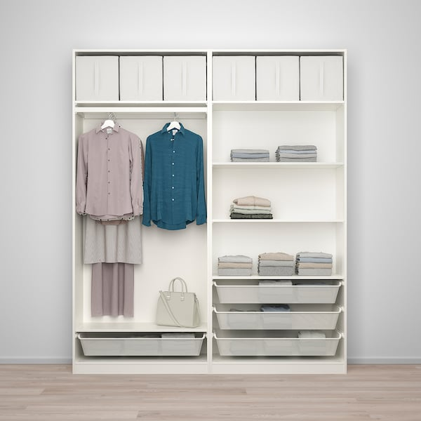PAX / BERGSBO تشكيلة دولاب ملابس., أبيض/زجاج محبب, 200x38x236 سم