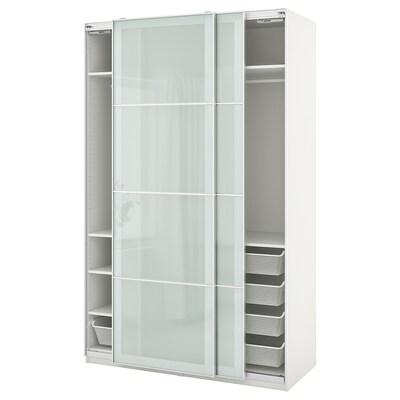 PAX / SEKKEN تشكيلة دولاب ملابس., أبيض/زجاج محبب, 150x66x236 سم