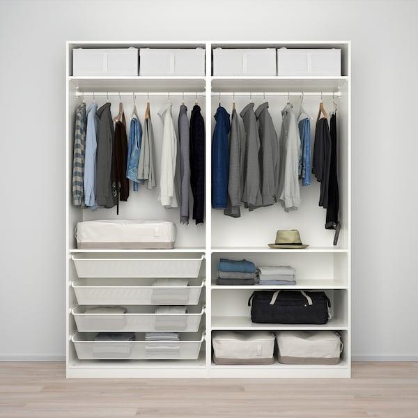 PAX دولاب ملابس, أبيض/Nykirke زجاج ضبابي، نقش محبب, 200x66x236 سم
