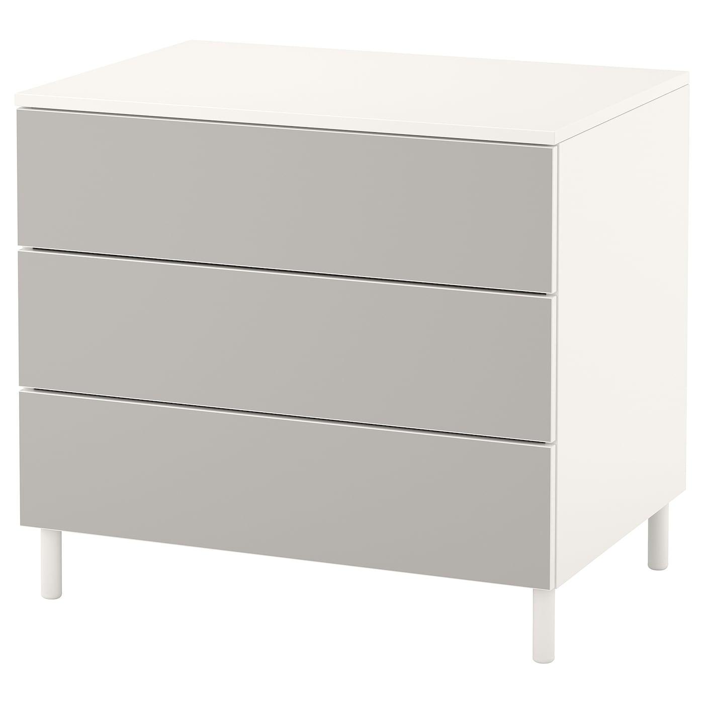 Chest Of 3 Drawers Platsa White Skatval Light Grey