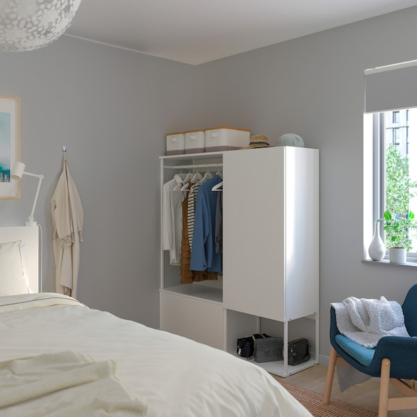 PLATSA دولاب ملابس مع 3 أبواب, أبيض/Fonnes أبيض, 140x42x161 سم
