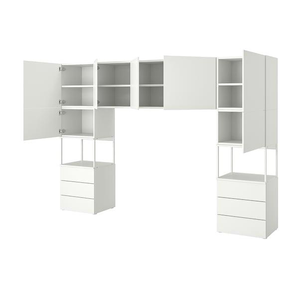 PLATSA دولاب ملابس مع 7 أبواب+6 أدراج, أبيض/Fonnes أبيض, 300x42x201 سم