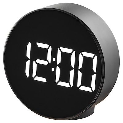 PLUGGET Alarm clock, black, 11 cm