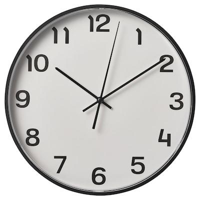 PLUTTIS Wall clock, black, 28 cm