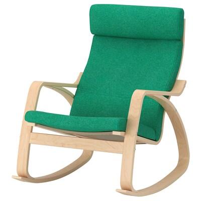 POÄNG كرسي هزّاز, قشرة بتولا/Lysed أخضر ساطع