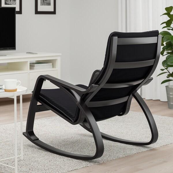 POÄNG كرسي هزّاز, أسود-بني/Knisa أسود