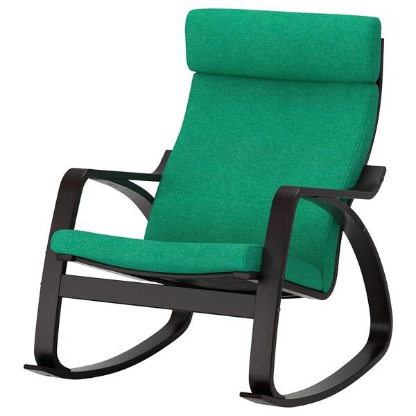 POÄNG كرسي هزّاز, أسود-بني/Lysed أخضر ساطع