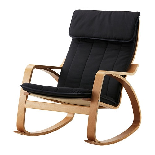 Po ng rocking chair ransta black ikea - Red poang chair ...