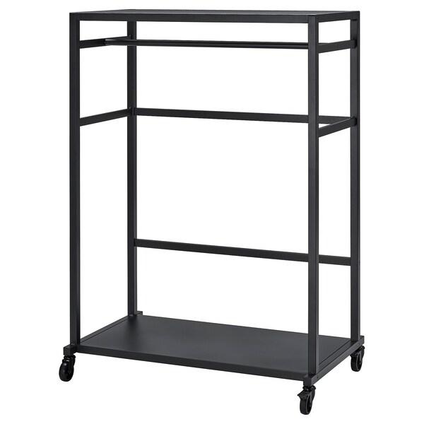 RÅVAROR Storage unit on castors, black, 100x140 cm