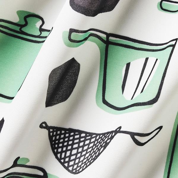 RINNIG مريلة, أبيض/أخضر/منقوش, 69x85 سم