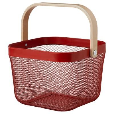 RISATORP Basket, red, 25x26x18 cm
