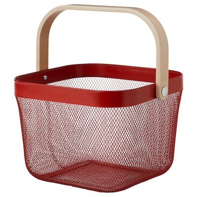 RISATORP سلة, أحمر, 25x26x18 سم