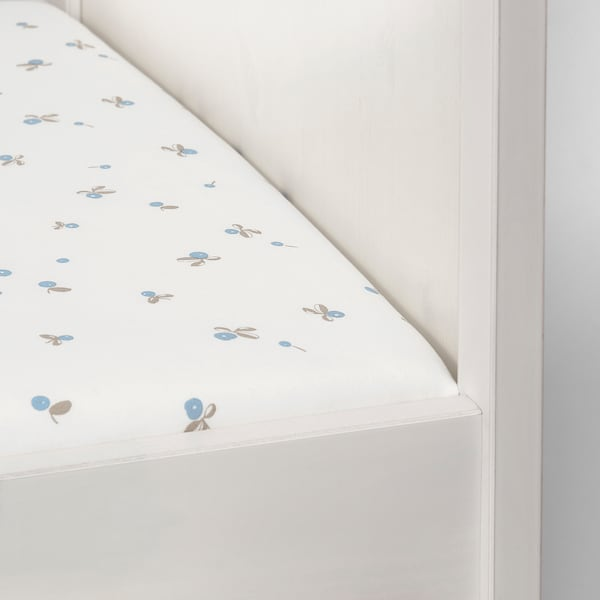 RÖDHAKE Fitted sheet for cot, white/blueberry patterned, 60x120 cm