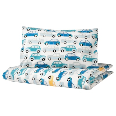 RÖRANDE غطاء لحاف وغطاء مخدة واحد للأطفال, سيارات/أزرق, 110x125/35x55 سم