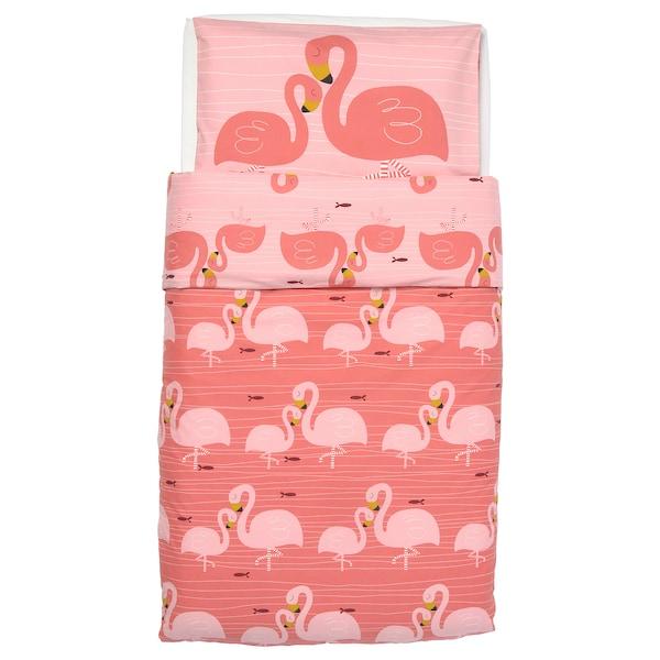 RÖRANDE غطاء لحاف/كيس مخدة لسرير طفل, طائر الفلامنغو المائي./زهري, 110x125/35x55 سم