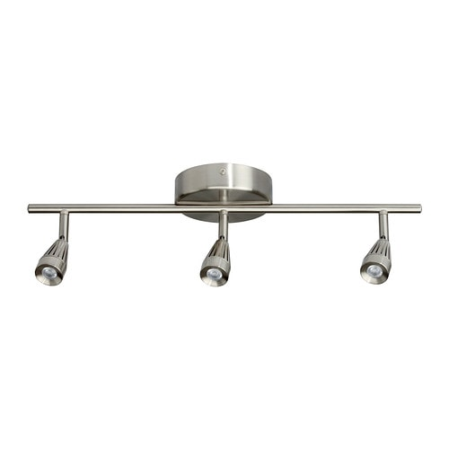 RYMDEN LED ceiling track, 3-spots, nickel-plated