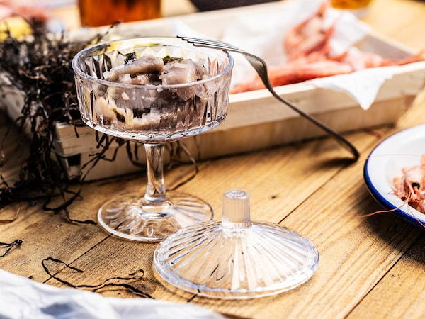 SÄLLSKAPLIG طبق عميق مع غطاء, زجاج شفاف/منقوش, 10 سم