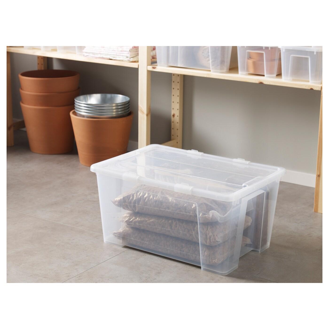 SAMLA صندوق بغطاء, شفاف, 57x39x28 سم/45 ل